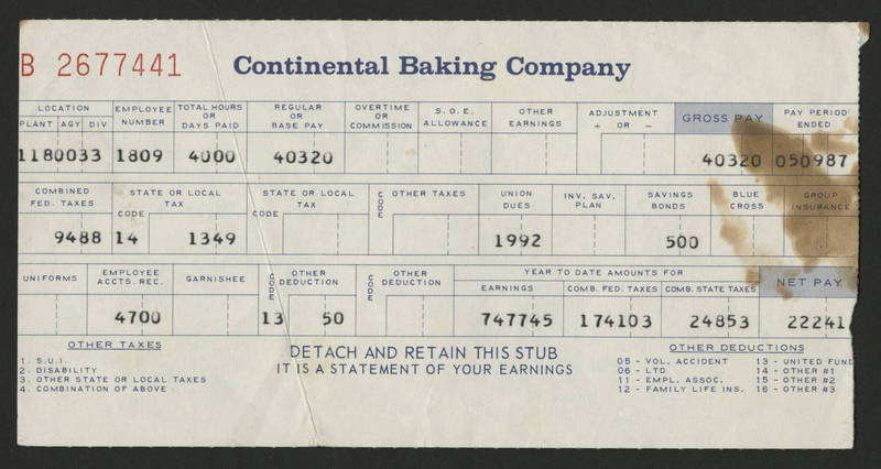 1987-05-09 Pay Stub Continental Baking
