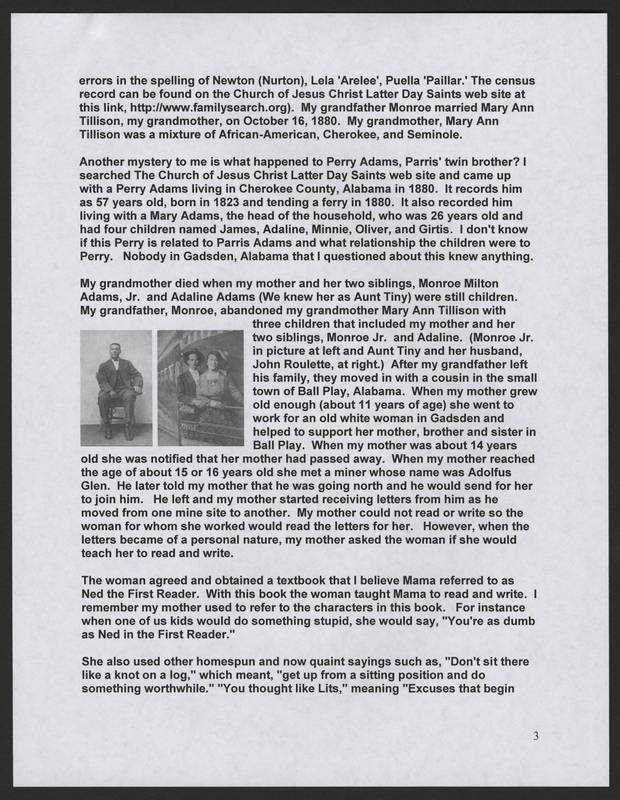 """Page 3 of """"Rodriguez Family of Holy City Bettendorf Family Genealogy and History,"""" by Ernest Rodriguez"""