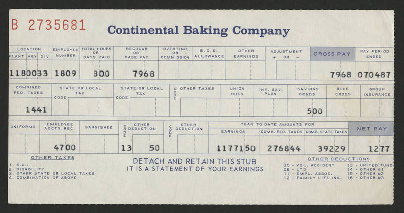 1987-07-04 Pay Stub Continental Baking