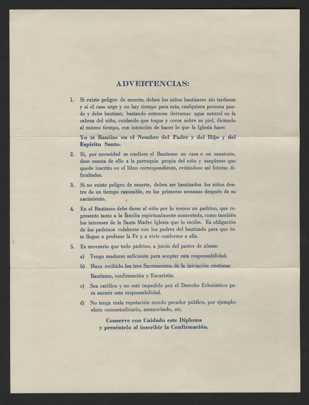 1980-09-18 Baptism certificate - back