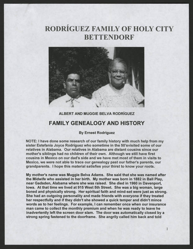 "Page 1 of ""Rodriguez Family of Holy City Bettendorf Family Genealogy and History,"" by Ernest Rodriguez"