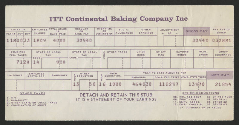 1981-03-28 Pay Stub ITT Continental Baking