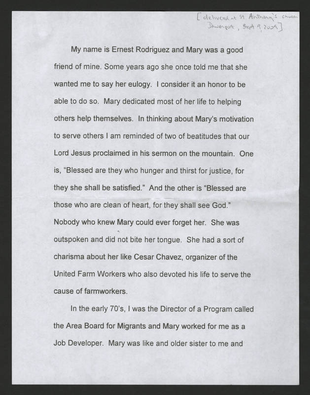 Ernest Rodriguez' Eulogy of Mary Terronez Page 1.jpg