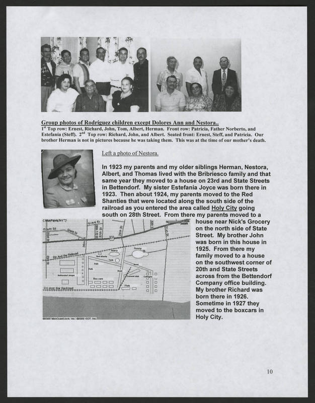 """Page 10 of """"Rodriguez Family of Holy City Bettendorf Family Genealogy and History,"""" by Ernest Rodriguez"""