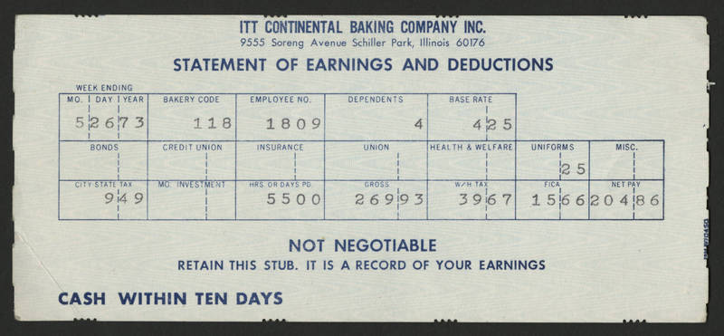 1973-05-26 Pay Stub ITT Continental Baking