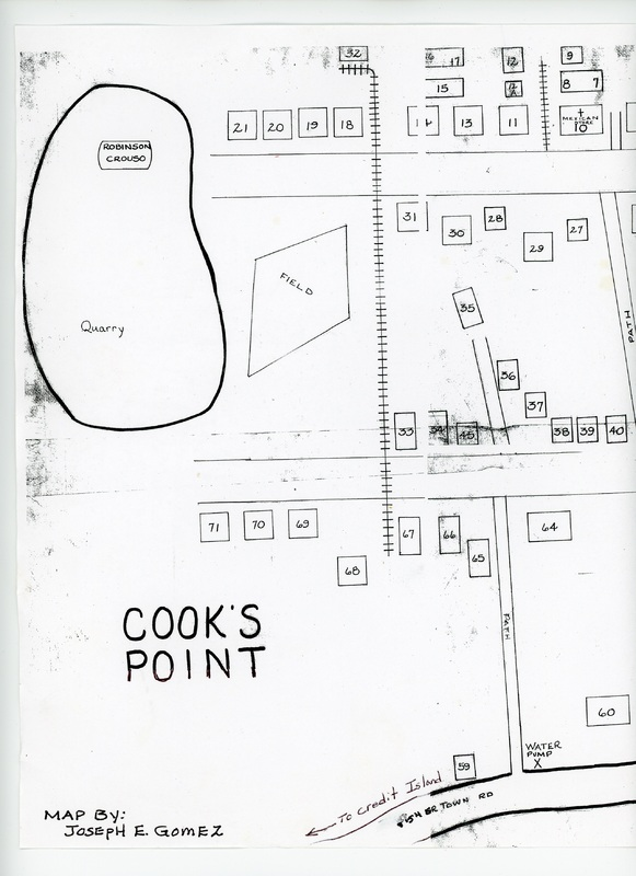 Page 1 of map of Cook&#039;s Point barrio drawn by Joseph Gomez<br />