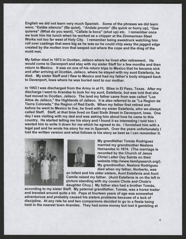 """Page 6 of """"Rodriguez Family of Holy City Bettendorf Family Genealogy and History,"""" by Ernest Rodriguez"""