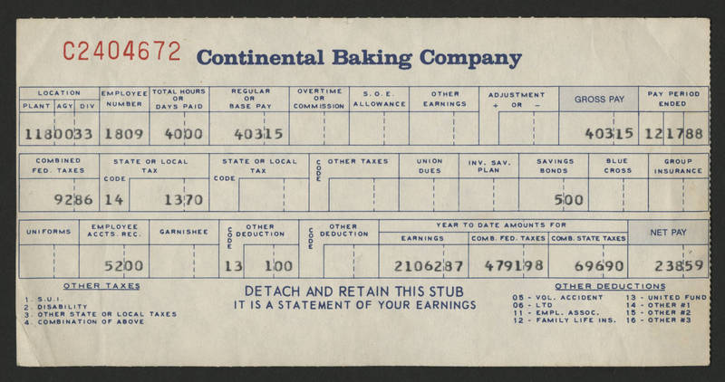 1988-12-17 Pay Stub Continental Baking - front