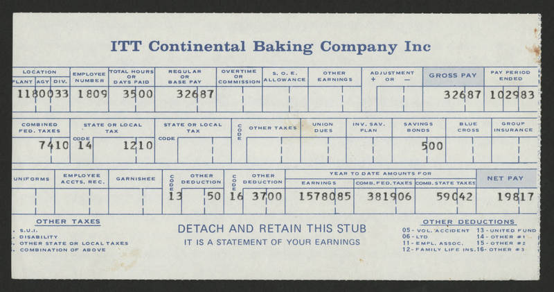 1983-10-29 Pay Stub ITT Continental Baking