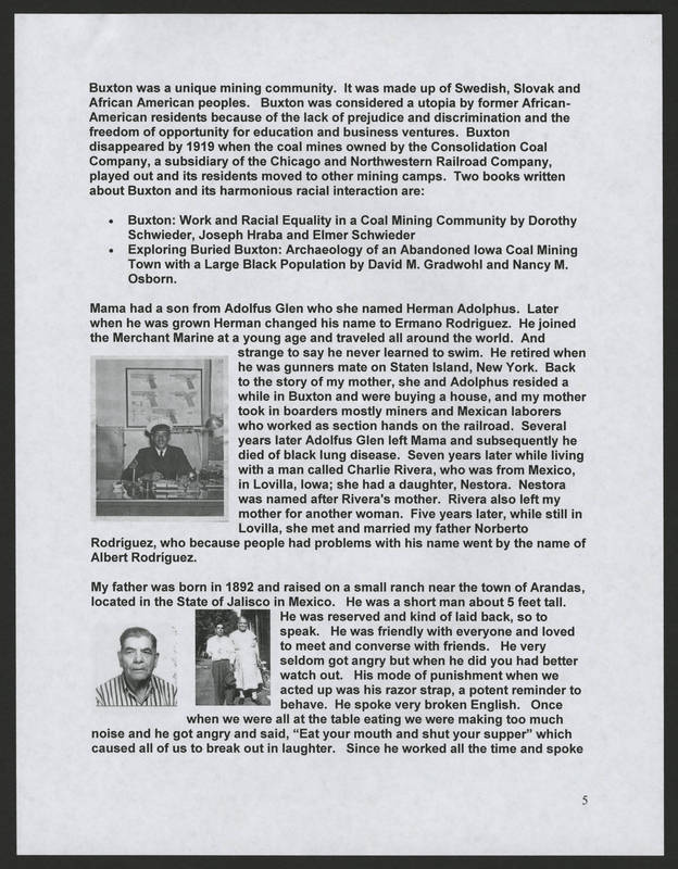 """Page 5 of """"Rodriguez Family of Holy City Bettendorf Family Genealogy and History,"""" by Ernest Rodriguez"""