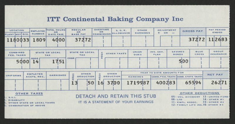 1983-11-26 Pay Stub ITT Continental Baking