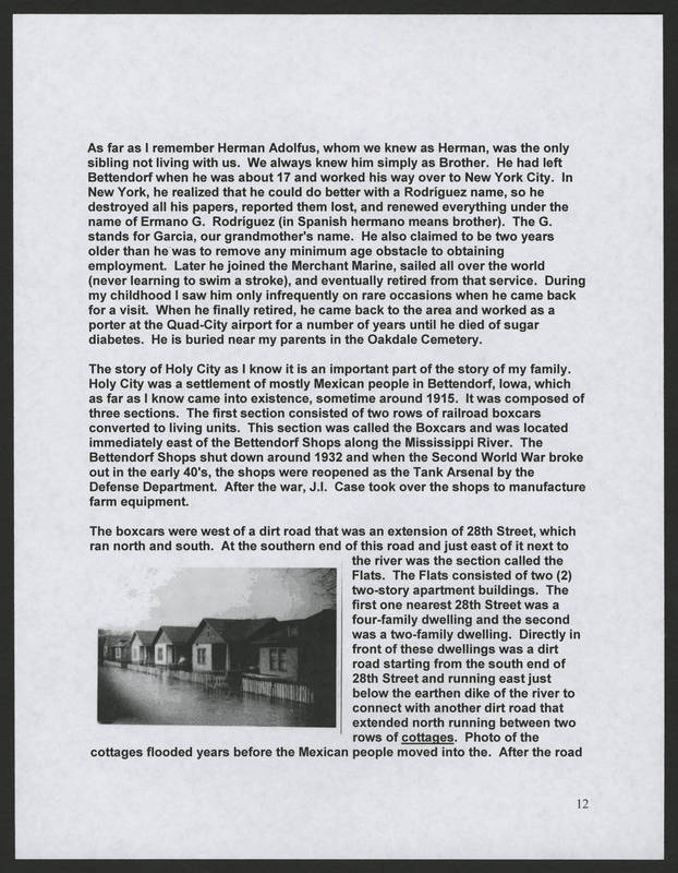 """Page 12 of """"Rodriguez Family of Holy City Bettendorf Family Genealogy and History,"""" by Ernest Rodriguez"""