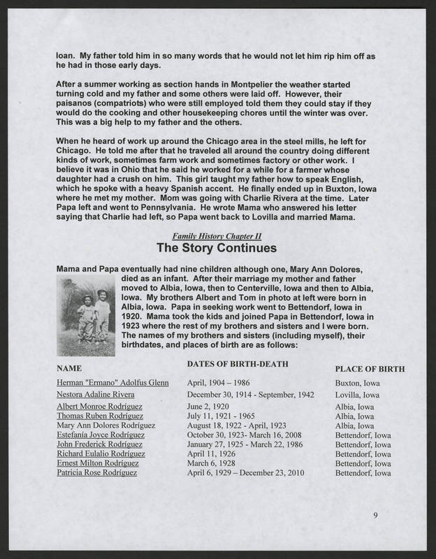 """Page 9 of """"Rodriguez Family of Holy City Bettendorf Family Genealogy and History,"""" by Ernest Rodriguez"""