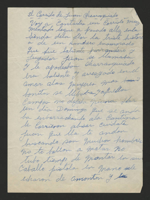 Handwritten draft of article in Spanish, Page 1