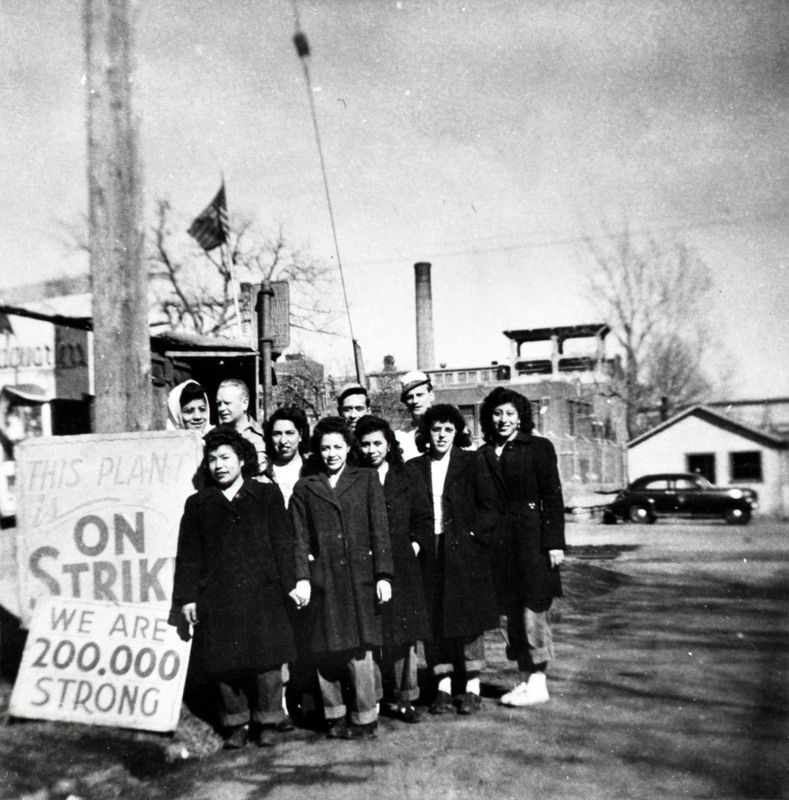 Social Protest_Strikes_ Hispanic women UPWA strike Armour Plant ca 1948 EXT Mason City IA PA120 (1).jpg