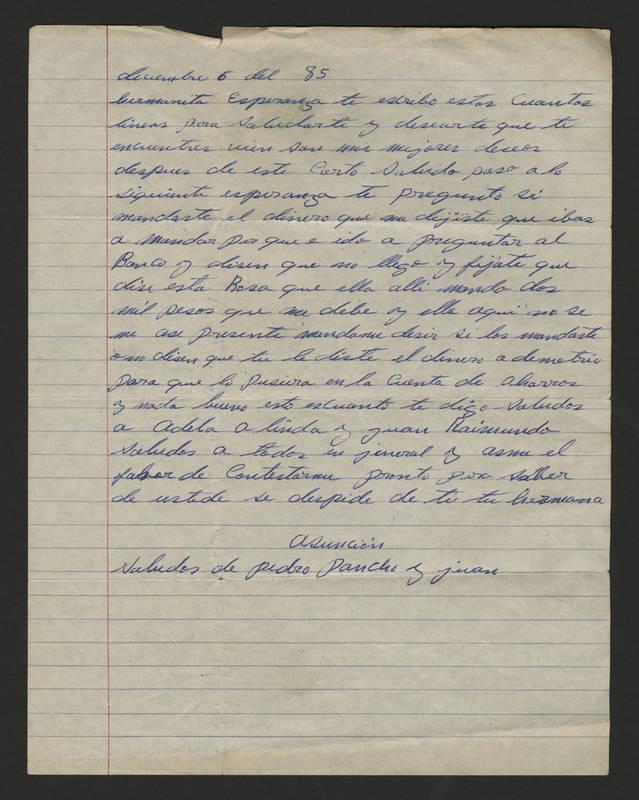 1985-12-06 Letter