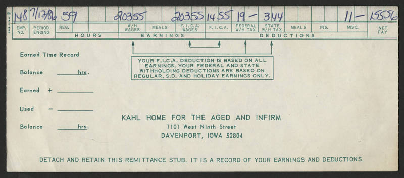 1986-07-12 Pay Stub Kahl Home for the Aged and Infirm - front