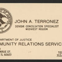 Business card of John Terronez, who worked in the Commmunity Relations Service area of the U.S. Justice Department.