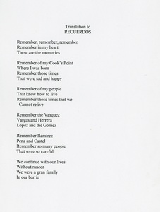 "Page 1 of lyrics for ""Recuerdos,"" written by Otilia Gomez Savala and Joseph Gomez about life in Cook's Point barrio."