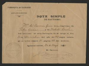 1940-05-30 Baptism certificate