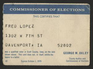Voter registration card for Fred Lopez<br />