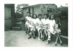 Photograph of the Vallejo sisters in Des Moines, Iowa, 1945.