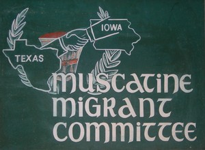 Muscatine Migrant Committee sign, 1960s.