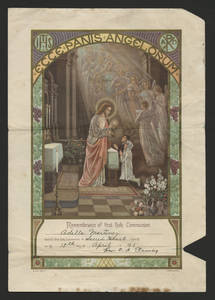 First communion certificate of Adella Martinez<br />