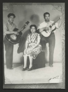 Mary Terronez with her husband Felipe Bravo Terronez (right) and cousin Juan Ramirez (left), Davenport, 1930.<br />