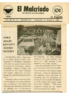 El Malcriado newsletter reports on Iowa support for the grape boycott.