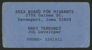 Mary Terronez&#039;s business card as a job developer for the Area Board for Migrants, 1970-1974.<br />