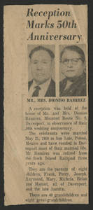 50th wedding anniversary announcement of Mr. &amp; Mrs. Dioniso Ramirez, parents of Mary Ramirez Torronez, 1960<br />