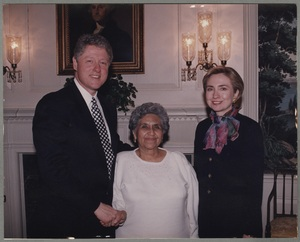 Mary Campos at the White House with President Bill Clinton and Hillary Clinton