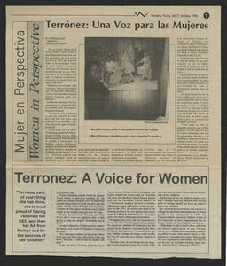 Article written about Mary Terronez, entitled &quot;Terronez: A Voice for Women&quot;<br />