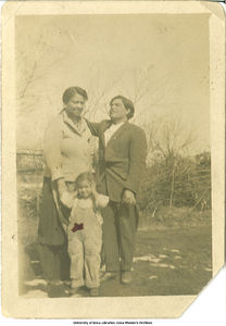 Muggie and Norberto Rodriguez outside with daughter, Nestora Rivera, Buxton, Iowa, ca. 1918