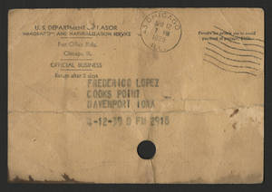 Envelope addressed to Federico Lopez in Cook&#039;s Point, 1939<br />
