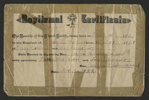 Baptism certificate for Florence Martinez