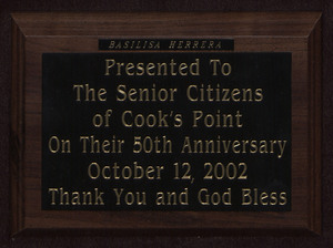 Cook's Point plaque, October 12, 2002