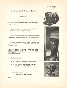 """Easter leaflet"" promoting the boycott of Heinz tomato products and the passage of two migrant worker bills, 1969."