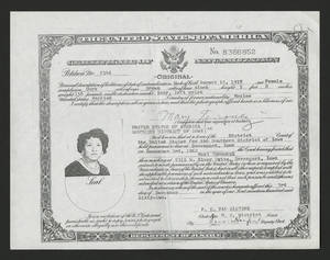 Certificate of naturalization for Mary Ramirez Terronez