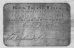 Felipe Terronez&#039;s Rock Island Lines shop train pass, 1943<br />