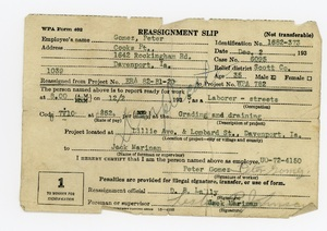 Work Progress Administration reassignment slip for Peter Gomez, 1935.