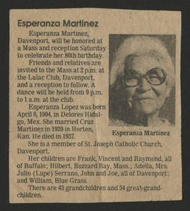 Newspaper clipping advertising Esperanza Martinez&#039;s 80th birthday celebration<br />