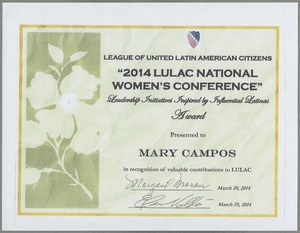 LULAC certificate presented to Mary Campos