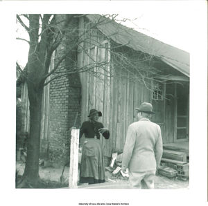 Calvin Croft walking toward birthplace of Muggie Adams, Gadsden, Ala.,  March 1966