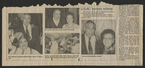 Newspaper clipping about LULAC honoring retiree Ray Martinez<br />