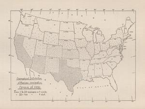 Map of the United States showing Mexican migration in the 1920s.