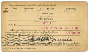 Rudy Macias address card.